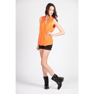 Tops - Neon Orange Sleeveless V-Neck Tank Top